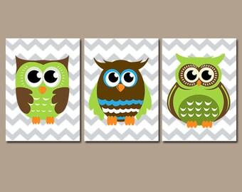 Boy OWL Wall Art, CANVAS or Prints , Baby Boy Nursery Artwork, Chevron Owl Theme, Cute Whimsical Owls Decor, Blue Green Bedroom, Set of 3