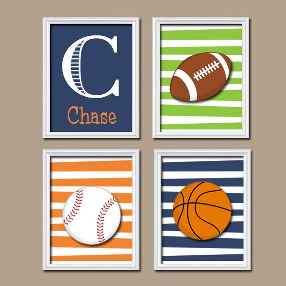 Basketball Sports Canvas Wall Art For Boys Bedroom Decor: Sports Wall Art CANVAS Or Prints Nursery Child Set Of By