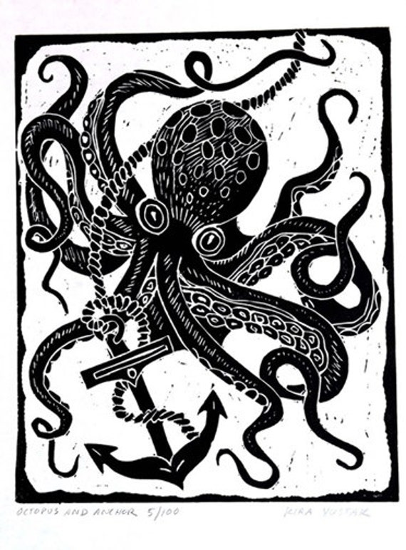Octopus and Anchor - Linocut Print