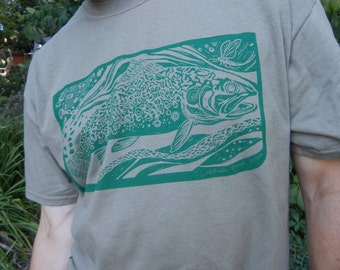 Discounted:  Brookie T-shirt or Brook Trout Fish  Silkscreened Shirt from Original Linocut by Byrdcall Small and Medium
