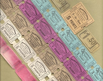 12 Vintage Amusement Park Tickets for Collage, Scrapbooking, Assemblage, Mixed Media and MORE