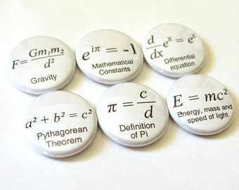 Math Teacher Stocking Stuffer Formulas arithmetic Magnets Button Pins Coasters Pi Day back to school science equation gift geek party favor