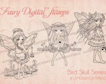Digital Stamps Goth Fairy Girls, Digi Download Coloring Pages, Fairies, Skull Fantasy, Halloween Horror, Clip Art, Scrapbooking Supplies