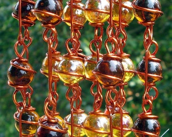 Brown Goldstone Windchime / Wind Chime with Recycled Aluminum and Copper Wrapped Dark Amber & Iridescent Apricot Glass Marble Prisms