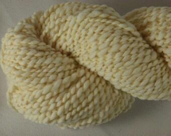 Handspun Yarn - White and Yellow Wool - 120 yds