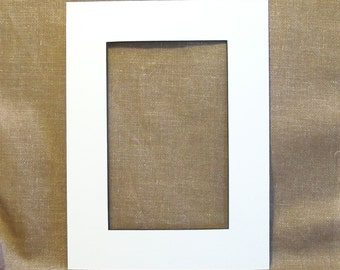 "Mat - Single Mat - White with Black Core - to fit 9"" x 12"" frame - Cut for a 5 1/2"" x 8 1/2""  Print - Picture Frame Mat - Matting - Matte"