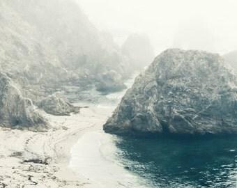"Beach ocean photography print, California coast wall art dark teal blue misty seascape ""Mermaids Beach"""