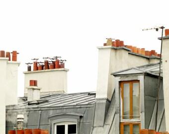 """Paris photograph - Paris rooftops - large wall art - beige cream gray terra cotta - architecture Paris print  16x20 print """"Montmartre Sky"""""""