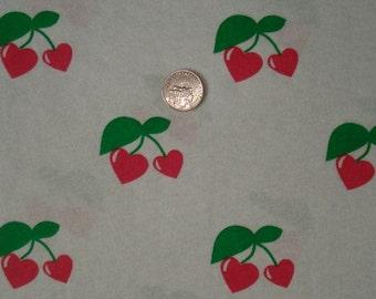 New cherry hearts  on cotton  jersey knit fabric 1 yard