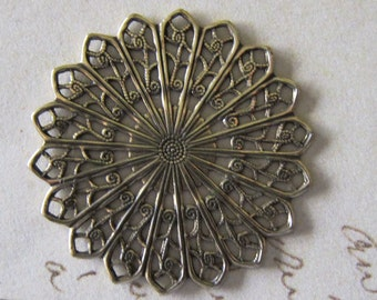 Antique Brass Filigree Finding 3366