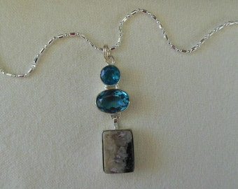 Charoite Jasper and Blue Topaz Sterling Silver Pendant Necklace
