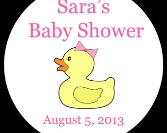 "30 Personalized Round Stickers - Pink Rubber Ducky Baby Shower -1.5"" Inches"