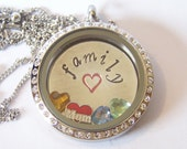 NEW! NEW! Mom Themed Locket and Charm Necklace, you choose amount of birthstones