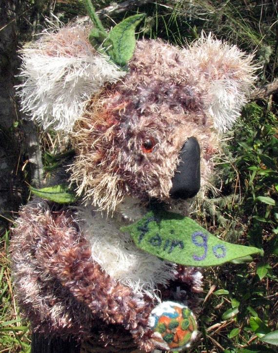 Koala Hat ,Puppet and Sculpture, Unique Textile Art