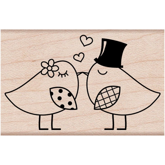 Love Liebe Hochzeit Wedding Silhouette Brautpaar Schwar: Two Birds Rubber Stamp Love Birds Stamp For Wedding