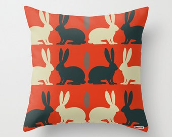 Accent pillow decorative throw -Decorative throw pillow cover - Rabits pillow - Kids pillow cover - Modern bedding - Cushion - Children