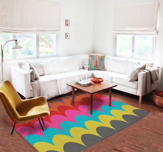 Items similar to decorative rug modern rug contemporary - Colorful rugs for living room ...