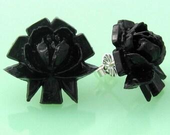 Vintage Celluloid Black Rose Post Earrings