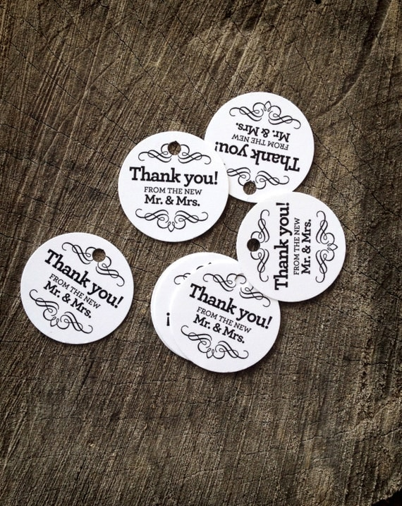 Round Wedding Gift Tags : Wedding Favor Tags - Round Thank you tags - Mr and Mrs Wedding Gift ...