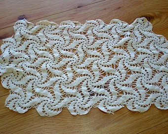 Antique 1940's Crocheted Grandmother's Doily - Table Runner - Old Keepsake - Off White - Toaster Cover - Unique Housewarming Gift - Collect