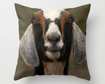 Smiling Goat Pillow Cover Goat Print Sweet Things Natural History Sweet Farm Goat Lovely Things Farm Animals