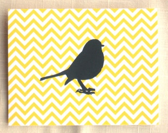 Yellow Chevron Note Cards - Set of 8 - Bird Note Cards