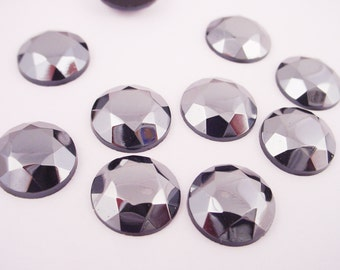 Vintage Hematite Faceted Glass Cabs 13mm West German - 6 pieces