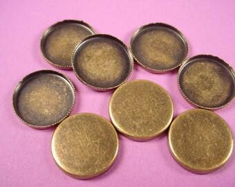 12 Brass  ox oval serrated notched Bezel Cups Wall bezel 15mm