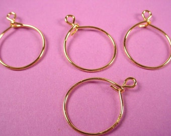 24 gold tone wire charm holders hoops loop