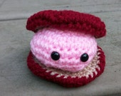 Crocheted Clam. Amigurumi Toy Clam in Crocheted Clamshell. Plush Ocean Animal. Pink Toy Clam in a Burgundy Clamshell. Seaside Stuffie