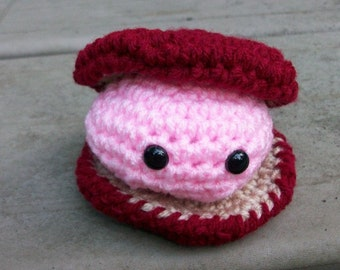 Crocheted Clam - Amigurumi Toy Clam and Crocheted Clamshell - Plush Ocean Animal -Pink Toy Clam in a Burgundy Clamshell - Seaside Stuffie