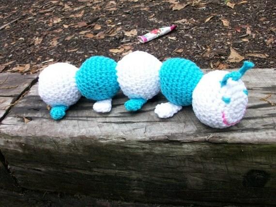 Amigurumi Caterpillar : Amigurumi caterpillar. teal toy caterpillar plush animal.