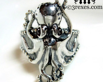 Octopus Ring Black Onyx Sterling Silver Band Size 8