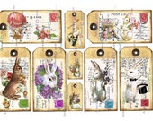 Easter RABBITS BUNNY  DIGITAL Tags All occasion Cute bunny tags labels Printable Scrapbook  Birthday Party Cardmaking Journal
