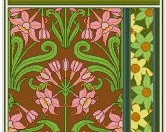 Jonquil Floral Art Nouveau Cross stitch pattern PDF Maurice Verneuil 1890s historical pattern