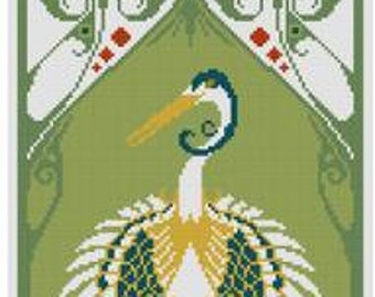 2 Japanese Cranes Cross stitch patterns PDF Bird pattern