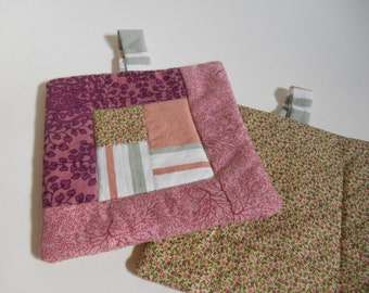 Plum, pink and green calico pretend play childrens potholder set