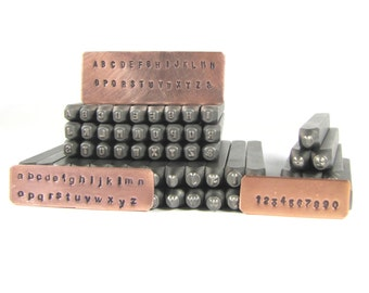 Steel letters 2 mm Arial both upper and lower case sets with numbers hand stamping tools