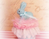 shabby chic bunny rabbit box easter spring decor cake topper centerpiece pink and blue