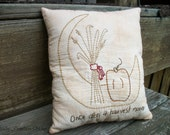 Primitive Hand Stitched Fall Pillow, Harvest, Pumpkin, Moon