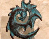 Spiral Dragon Pendant, Green Patina, Greek Casting M319