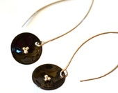 Black Enamel  Earrings Lily Pads  Little Black Earrings