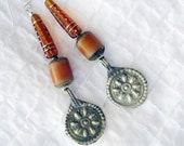SALE, Long Root-Beer Czech Glass Cones, Buri Beads, & India Charms Earrings