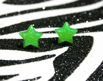 Neon Green Star Earrings, Lime Glitter Studs, Minimalist, Kitsch Kawaii