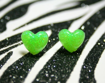 Neon Green Heart Earrings, Studs, Glitter Lime, Kawaii Resin Jewelry