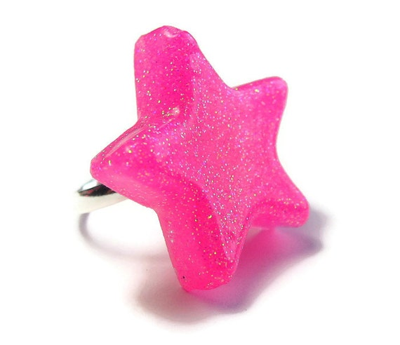 Pink Star Ring, Neon Resin,  Glitter Ring, UV Reactive, Rave Jewelry