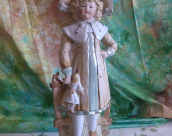 Old Fashion Girl with Doll on Pedestal Matte and Gloss Finish