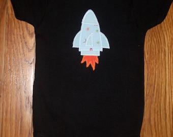 Retro Rocket Applique on Black Baby One-Piece
