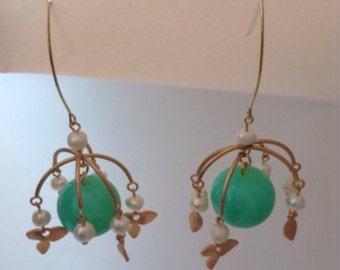 carousel mint green seafoam gold flower freshwater pearls charms delicate bead neon light cute fun minature dangle earrings