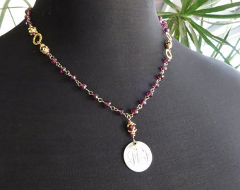 Victorian love token necklace - garnet necklace - 14k gold fill - antique coin - gemstone jewelry - monogram initials - sentimental gift